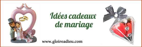 Idées cadeaux de mariage à personnaliser sur Gloireadieu.com