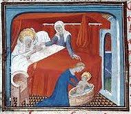 Nativité de la Vierge, enluminure du XVe sc