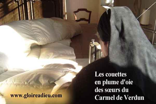 Les couettes en plume d'oie des sœurs du Carmel de Verdun